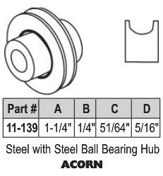"1-1/4"" Acorn Steel Ball Bearing Roller"