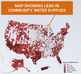 Map showing lead in community water supplies.