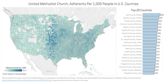 United Methodist Church Adherence Rates, by County