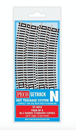 Peco N ST-3016 No.3 Radius STD Curve Pack of 8