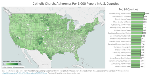Catholic Adherence Rates, by County
