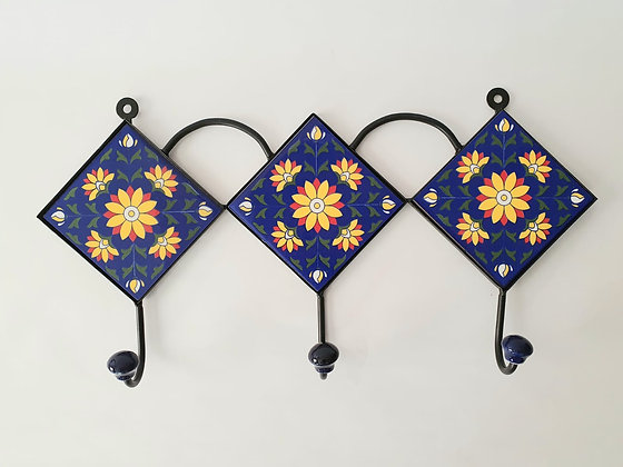 "Hand Painted Ceramic Wall Hanger - 17""W 3 hooks"