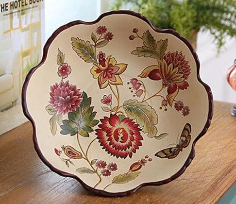 Gaillardia & Butterflies - Hand painted Fruit Tray