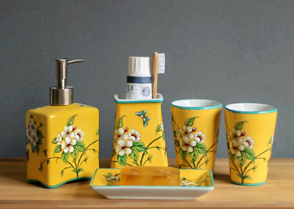 Yellow Frangipani and Butterfly Bathroom 5pcs Set