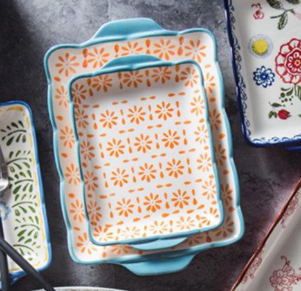 Hand Painted Scallop Edged Dessert Plates