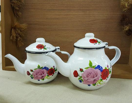 Enamel White Rose Teapot