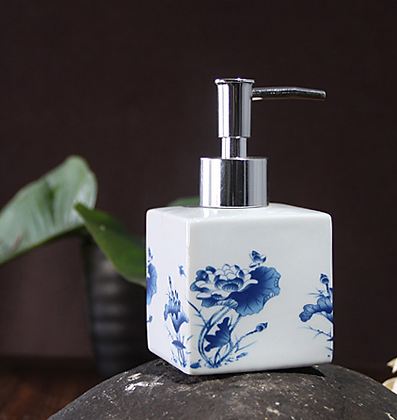 Blue Water Lily Soap Dispenser