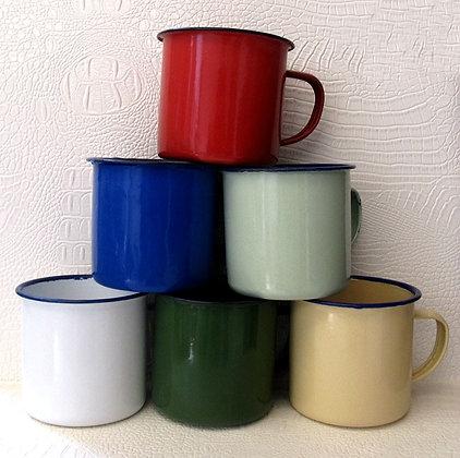 8cm Enamel Plain Mugs - Set of 2