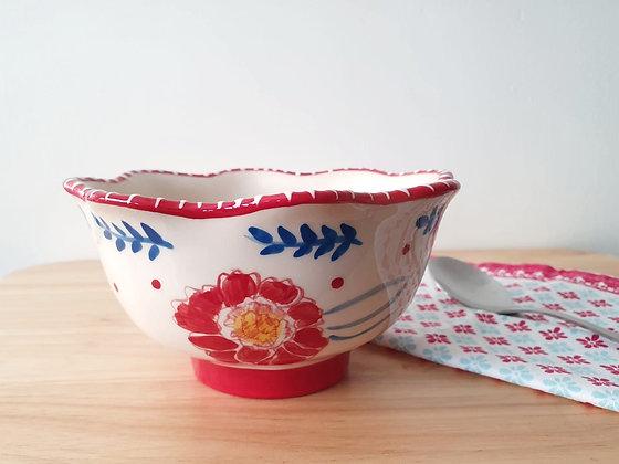 Red Floral Ceramic Bowl