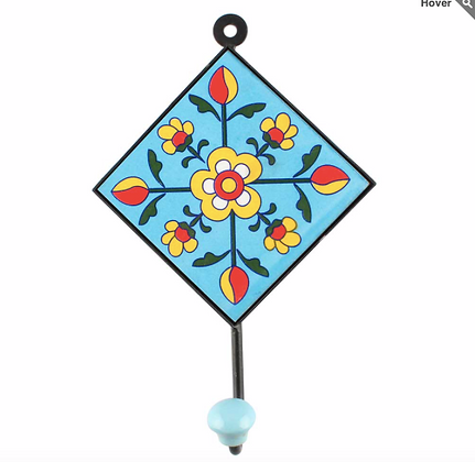 "Hand Painted Ceramic Wall Hanger - 5.75""W  Single hooks"