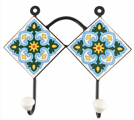 "Hand Painted Ceramic Wall Hanger - 8.4 ""W 2 hooks"