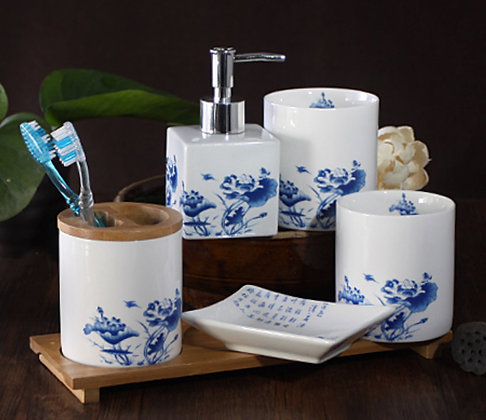 Blue Water Lily Bathroom 6pcs Set
