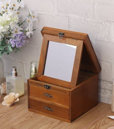 Jewellery Box with Collapsable Tabletop Mirror
