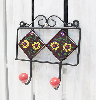 "Hand Painted Ceramic Wall Hanger 6"" W 2 hooks"