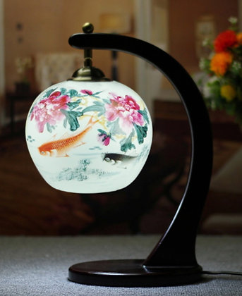 Porcelain Peony & Koi Oriental Lamp