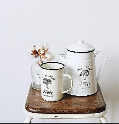 Enamel Retro White Coffee Teapot