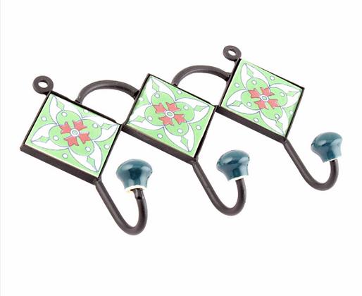 "Hand Painted Ceramic Wall Hanger - 8.5""W  3 hooks"