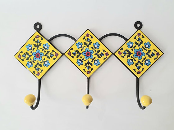 "Hand Painted Ceramic Wall Hanger - 12.5""W 3 hooks"