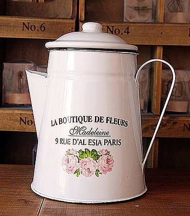 Enamel Country Rose Teapot