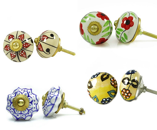 Hand Painted Artisan Cabinet Knobs - 2 pc set