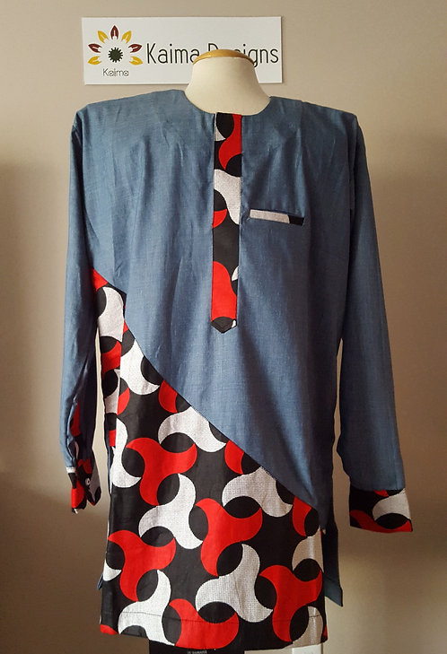 Bolaji Jean Blue Top with Tessellation