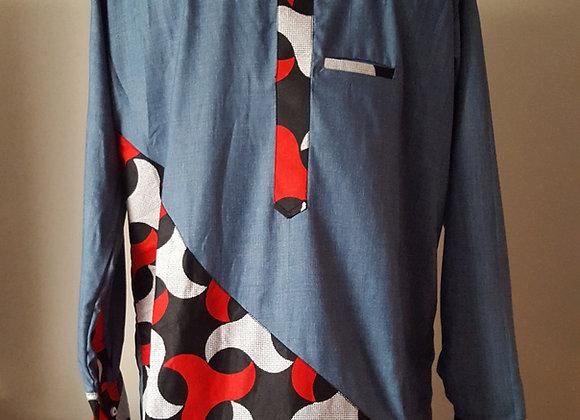Bolaji Jean Blue Top with Tessellation