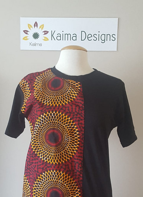 Black Unisex T-Shirt with Ankara Split