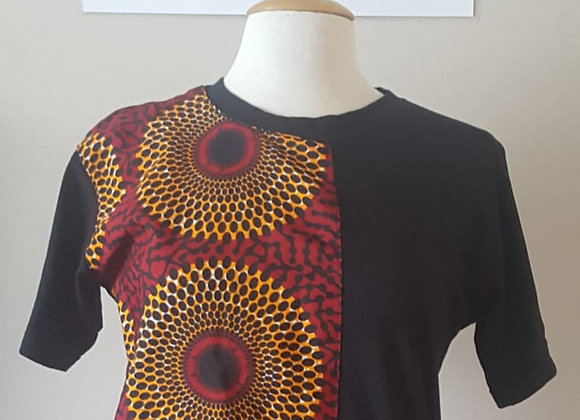 Black Unisex T-Shirt with Ankara Split