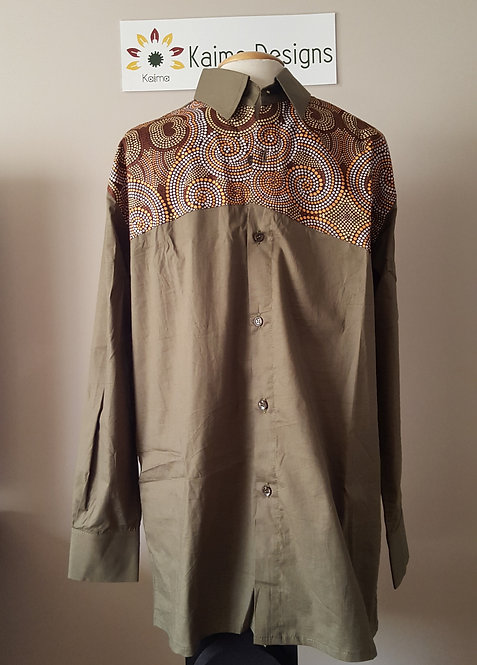 Bamidele Green Beige Top with Dotted Spirals