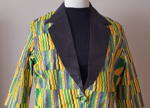 Binyelum Black Collared Kente Jacket