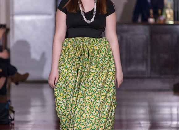 Ochuko Leaf-Green Maxi Skirt