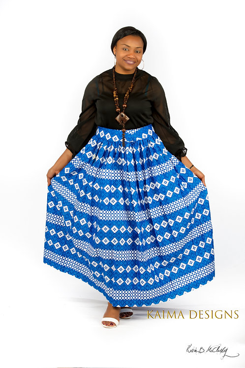 Ochuko Blue and White Patterned Maxi Skirt