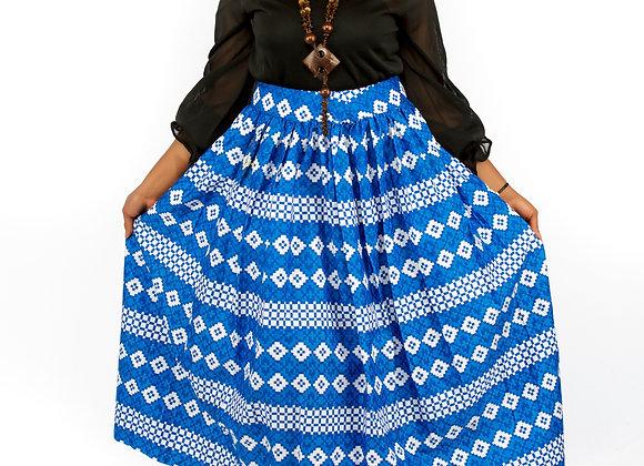 Ochuko Blue and White Patterned Maxi Skirt