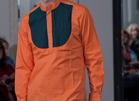Orange and Green Long Sleeve Top