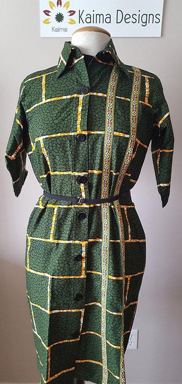 Chinara Green Brick-Patterned Dress Shirt