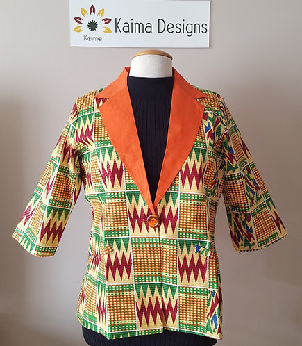 Binyelum Orange-Collared Kente Jacket