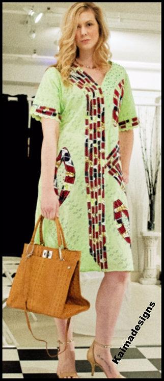 Kasara Lace Ankara Patched Dress