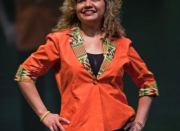 Binyelum Kente-Collared Orange Jacket