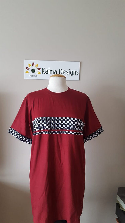 Burgundy T-shirt with Ankara Trimmings