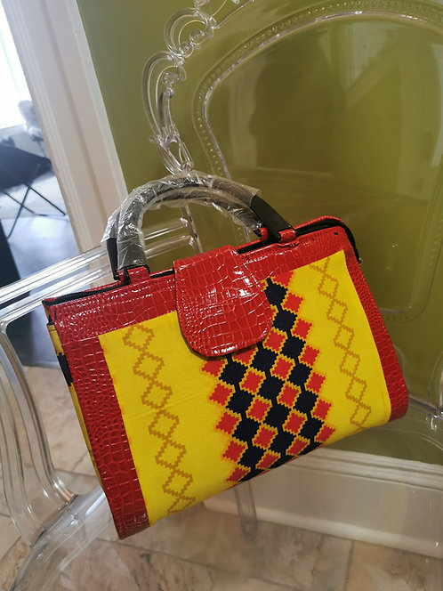 Diamond Patterned Red Ankara Handbag