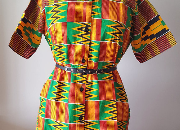 Chinara Kente-Patterned Dress Shirt