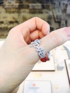 แหวนตัวอักษร แบบธรรมดา (ฝังเพชรทุกตัว)