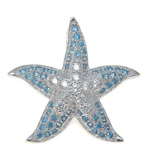Sterling Silver Blue Topaz Starfish