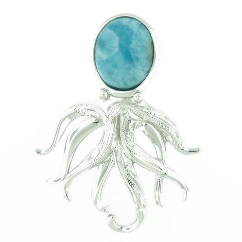 Sterling Silver Larimar Octopus Necklace