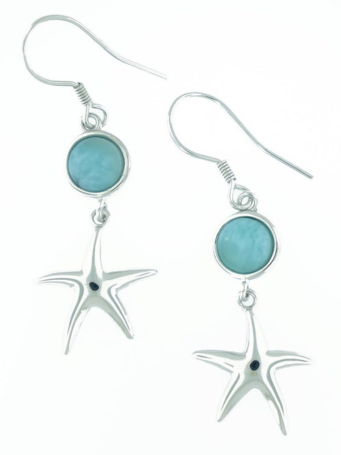 Sterling Silver Starfish Larimar Earrings