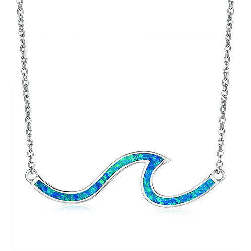 Sterling Silver Fire Opal Wave Necklace