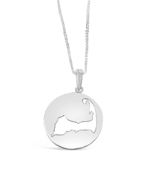 Sterling Silver Disk Map Necklace