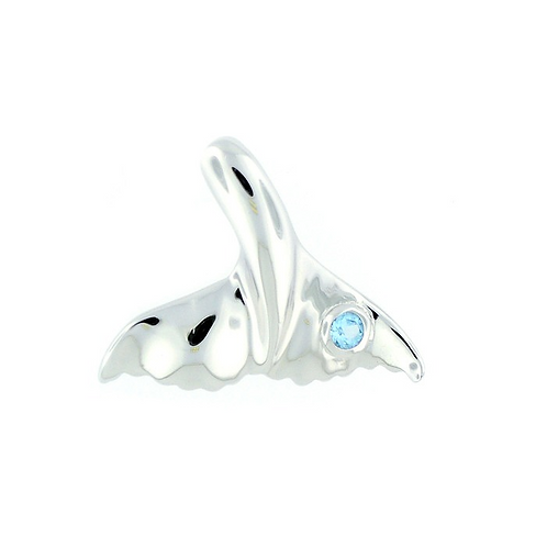 Sterling Silver Whale Tail With Blue Topaz