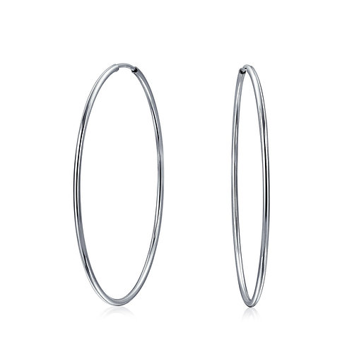 Sterling Silver Extra Large Hoop Earrings