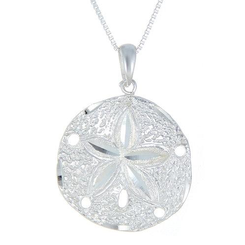 Diamond Cut Sterling Silver Sand-Dollar Necklace